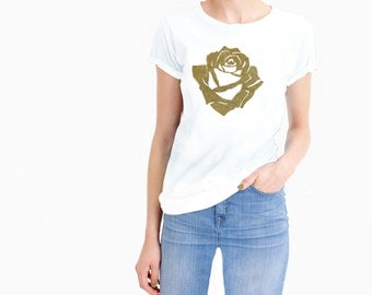 100% preshrunk cotton tee with a front metalic gold rose