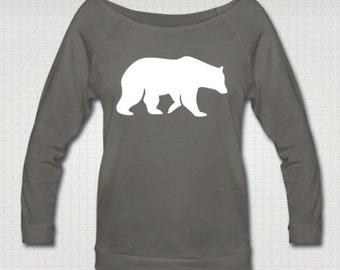 Bear Women's 3/4 Length Sleeve Boatneck Sweatshirt (Black and Gray)
