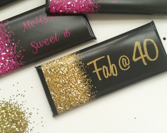 Glitter party decor, 50th birthday favors, Pink and black, 40th birthday favors, black and gold, hot pink, Sweet 16, 30th birthday, 24 ct.