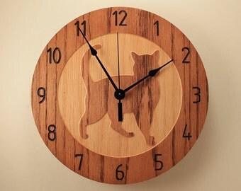 Oak cat clock Kitty clock Pet clock Wood clock Wall clock Wooden wall clock Cat design decor Cat lovers gift Animal clock Home clock