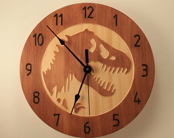 Pine T-Rex clock Dinosaur clock Wood clock Wall clock Wooden wall clock Kids room decor Jurassic park Jurassic world Home clock Office clock