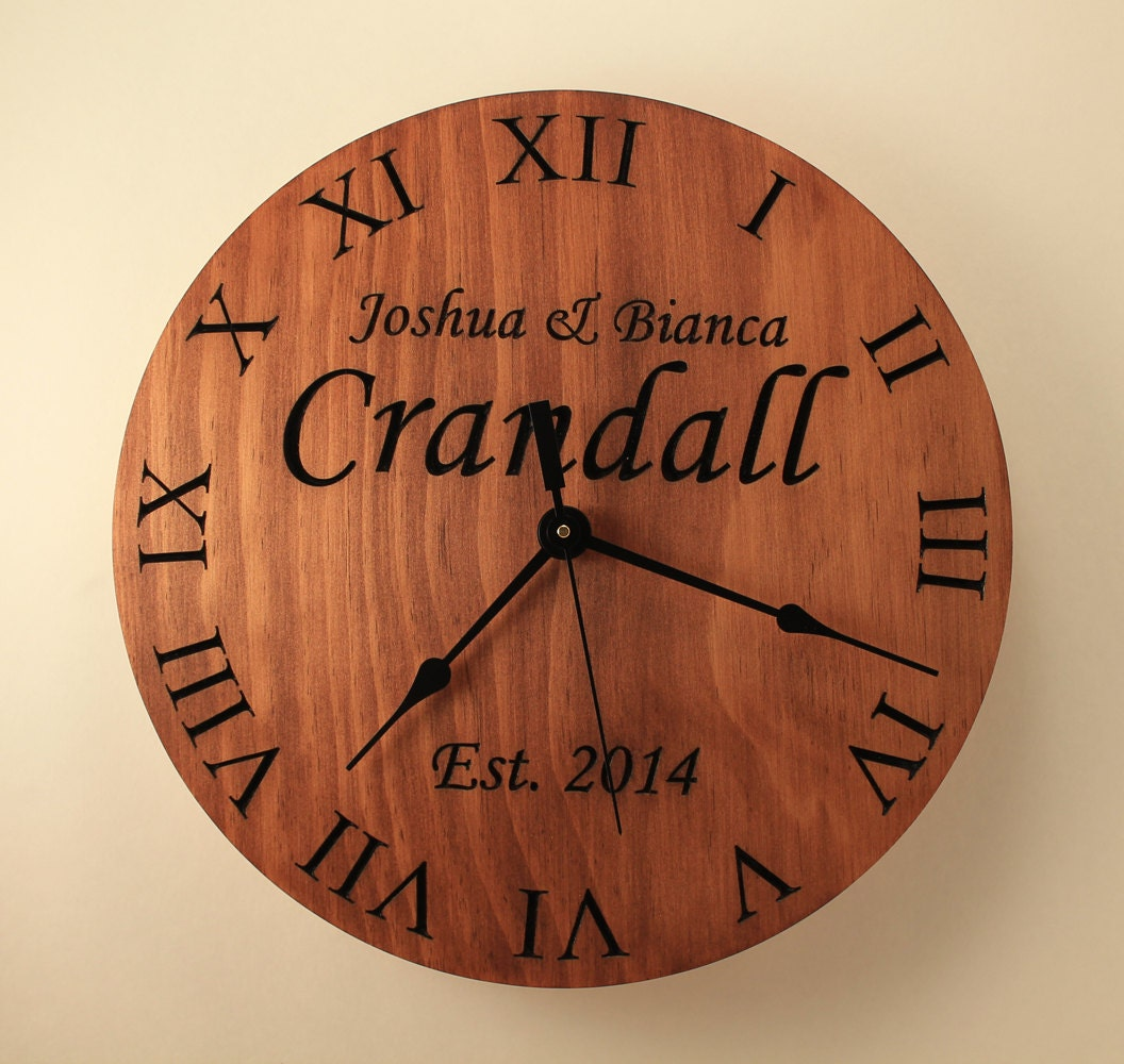 pine personalized wedding clock custom clock anniversary clock. Black Bedroom Furniture Sets. Home Design Ideas