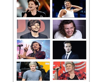 8 One Direction Stickers, Birthday party favors, labels, decals