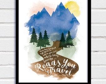 Bible Verse, Downloadable Print, Inspirational Print, Inspirational Poster, Psalms, Typography, Home Decor, Watercolour Art