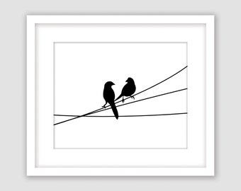 Horizontal Birds on a Wire Print, Black and White, Animal Wall Art, Modern Art, Instant Download, DIY, Printable