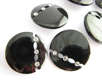 Black metal buttons with rhinestones, pierced metal buttons with shanks