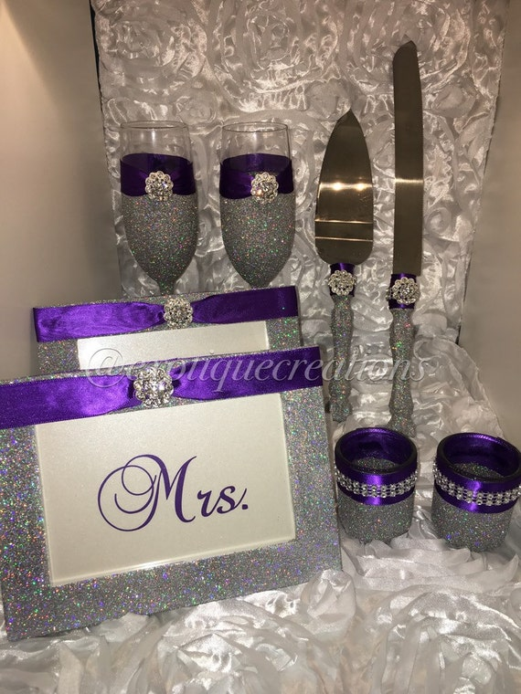 Silver With Bling And Purple 8pc Wedding Set By