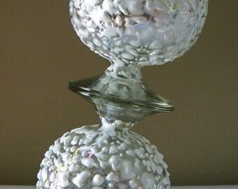 Handmade 'White Rocks' Art Glass Highball Glasses - Set of 2, MCM Rainbow Art Glass, Modern Art Glass Stemware, Handblown Rainbow Glass