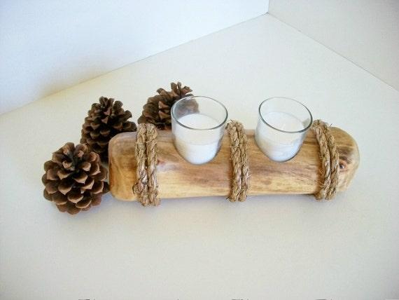 Log votive candle holder alaskan aspen lodge cabin decor for Aspen logs for decoration