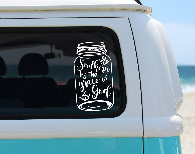 Southern By The Grace Of God Vinyl Decal Mason Jar Sticker