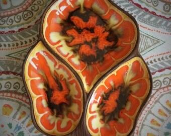 Vintage 1960's Divided Brown Orange Yellow Swirl Pattern Glazed Treasure Craft Dish