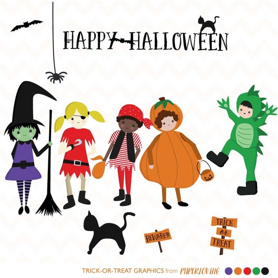 Halloween Clipart Trick-or-Treat Clipart Cute Halloween
