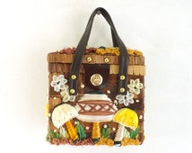 60s mushroom bag, basket weave wicker straw bag, mod square handbag, 1960s mad men purse, faux leather handles, top handle bag