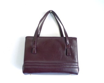 60s cowhide bag, brown red leather bag, cowhide handbag, mad men purse, 1960s purse, top handle bag, shoulder bag, classic minimalist