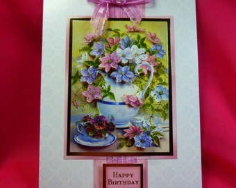 Birthday card, Greeting card, pink floral, 3D decoupage,