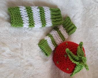 Strawberry Shortcake Beanie and Leg Warmers Set/Summer photo prop