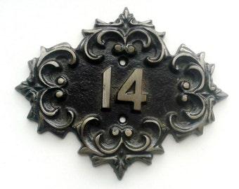 Cast iron room number 14, retro soviet big door number fourteen