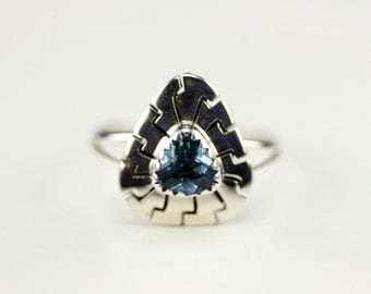 Native American Indian Jewelry Handmade Sterling Silver Blue Topaz Ring Size 9