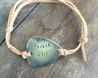 Isaiah 41:10 Bible Scripture Verse - Antique Distressed Brass Guitar Pick Hand Stamped Bracelet Natural Beige Leather Cord Adjustable 6""