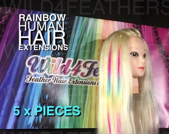 Human Hair Extensions Remy Micro Bead I Tip 1g Wave Extension Weave : 5pc Rainbow Coloured,+ Free Hair Gift w/purchase,Fast Shipping,auslr