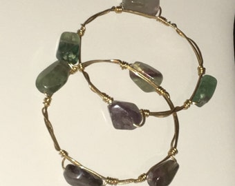 Stackable genuine stone wire wrapped bangles!
