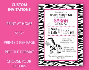 Pink Black Zebra Baby Shower Invitations   Jungle Zebra Print Baby Shower    PRINTABLE Shower Decorations