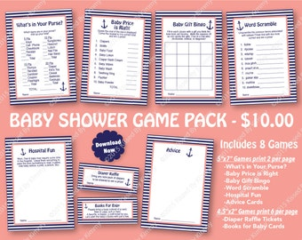 Navy Blue Coral Baby Shower Game Pack - 70% OFF -PRINTABLE Boy Shower Games- 8 Pack - Navy Coral Stripe Nautical Anchor Diaper Raffle Ticket
