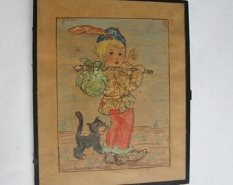 vintage 40's original mixed media painting, collage signed made in Greece, girl and cat