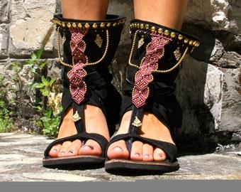 Ethnic shoes black and violet, Macramè sandals, Ethnic sandals, Leather sandals