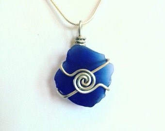 Spiral Front Wrapped Sea Glass Pendant