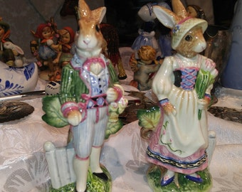 Fitz & Floyd Salt and Pepper Shakers - Rabbits