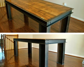 Reclaimed I Beam Wood and Steel Table