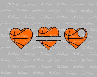 Basketball heart SVG DXF EPS, split basketball svg, basketball file, basketball monogram, files for Cricut, Sihouette files, svg files