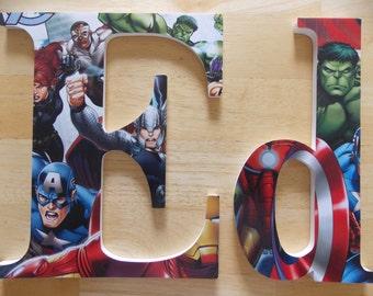 Avengers Letters, Super Hero Letters, Captain America, Iron Man, Hulk, Personalized Wooden Letters, Boy's Bedroom, Super Hero Decor, Avenger