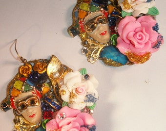 EARRINGS The baroque Masks Only Room Signed Sewing Cabochon Crystal