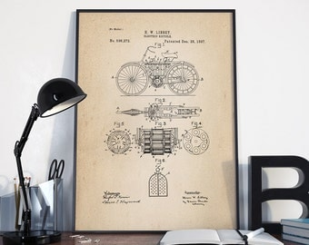 Electric Bicycle Patent, Bicycle Patent Print, Velocipede Patent Print, Patent Print, Bicycle Decor, Wall Patent Art - DA0011