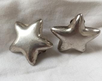 Vintage Sterling Silver CAROLEE Designer Clip On STAR Earrings - Wonderful!
