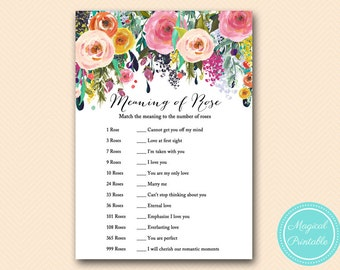 meaning of rose, unique bridal shower game, Painted Floral Bridal Shower Games, Shabby Chic, Flowers, Wedding Shower Games BS138