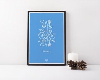 "11x17 ""Sykkel"" (Bicycle) Nordic Risograph Poster (Limited Edition), cornflower blue and white, Norwegian Scandinavian folk art print"