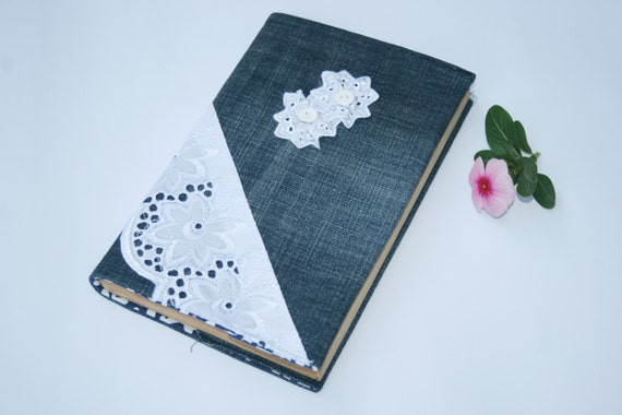 Book Cover Black Jeans : Fabric book cover denim modern notebook by