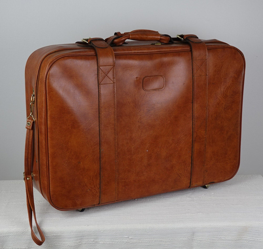 Large suitcase brown vintage suitcase brown luggage - Vintage suitcase ...