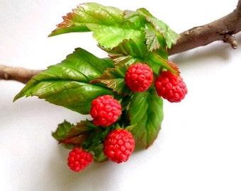 bracelet handmade bracelet with berries,bracelet made of polymer clay,red,raspberry,cold porcelain