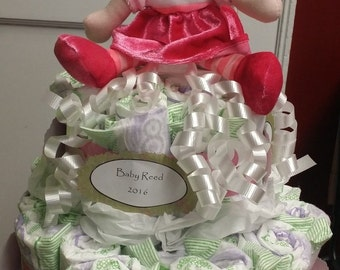 2-Tier Diaper Cake for baby shower (boy or girl)