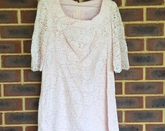 Baby pink vintage lace dress