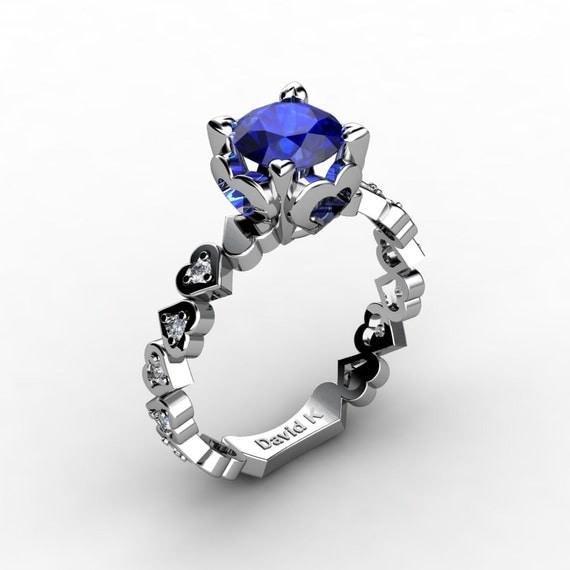 seelenfreund 14k white gold 10 ct blauer saphir diamant. Black Bedroom Furniture Sets. Home Design Ideas