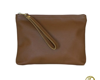 Brown Leather Clutch. Handbag