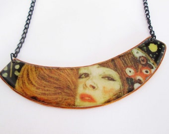 Gustav Klimt polymer clay necklace Gift Idea Valentine's Day gifts Present for Her Birthday gift for Her trending jewelry Fimo art