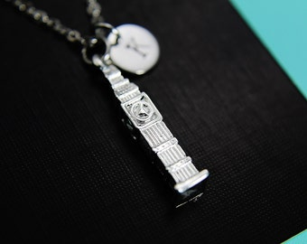 Big Ben Necklace Silver Big Ben Charm Necklace Big Ben Clock Tower Pendant with Personalized Initial Necklace Monogram Charm Custom Jewelry