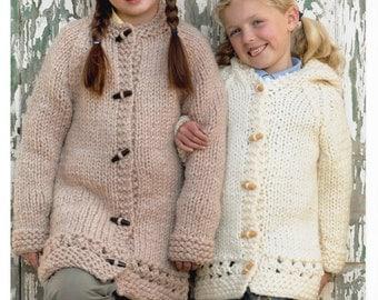 PDF Knitting Pattern Girls Chunky hooded coat pattern- fits 20-30 chest