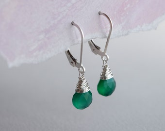 Green onyx earrings, faceted green onyx briolette wire wrapped and set onto sterling silver lever back hooks, Comfort
